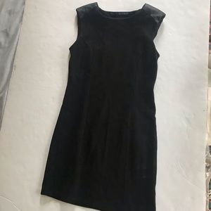 Zara Basic Black Sleeveless Dress w/ leather det